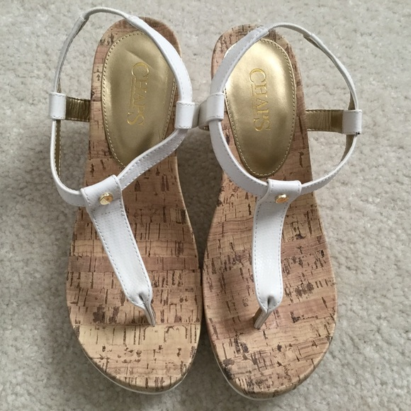 Chaps Shoes - Chaps Size 7 White Wedges. NWT. Gorgeous.
